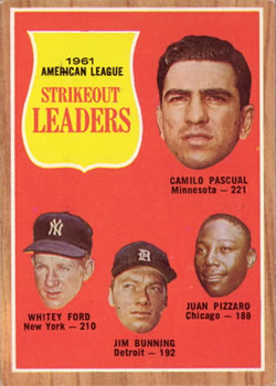 1962 Topps #59 AL Strikout Leaders/Camilo Pascual/Whitey Ford/Jim Bunning/Juan Pizzaro