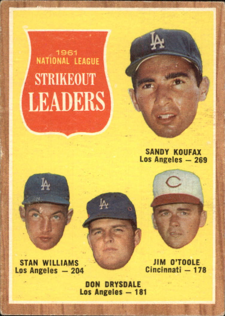 1962 Topps #60 NL Strikeout Leaders/Sandy Koufax/Stan Williams/Don Drysdale/Jim O'Toole