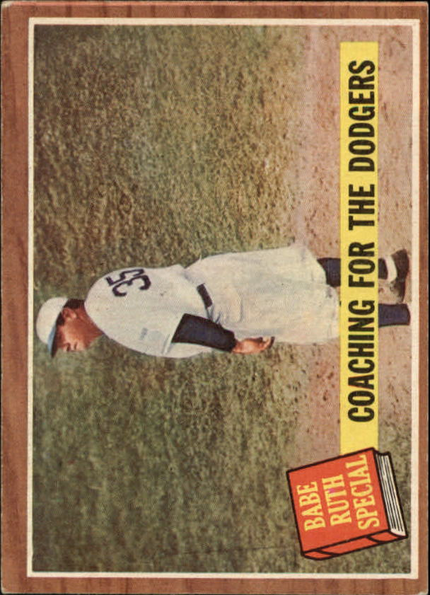 1962 Topps #142 Babe Ruth Special 8/Coaching the Dodgers