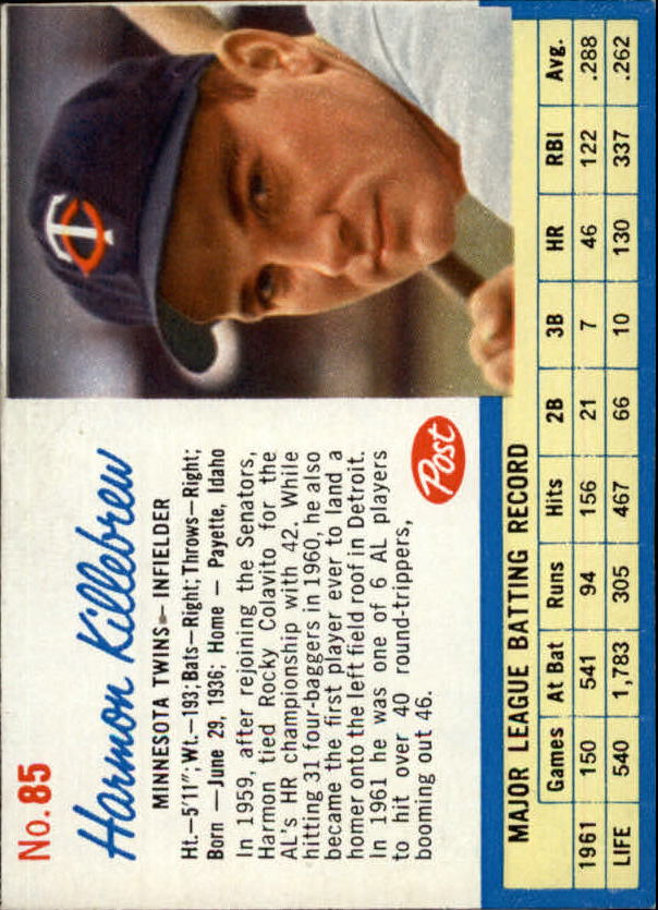 1962 Post #85 Harmon Killebrew
