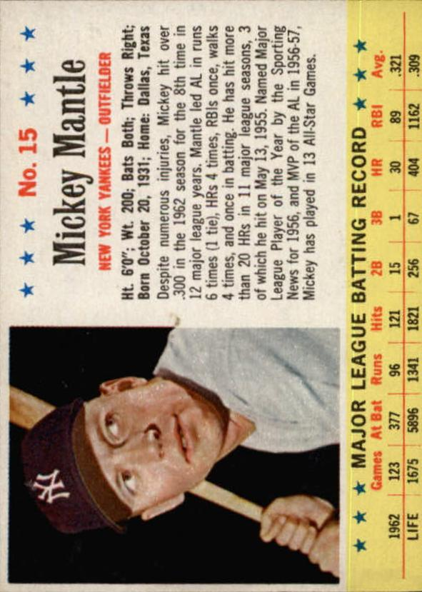 1963 Post #15 Mickey Mantle front image
