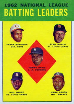 1963 Topps #1 NL Batting Leaders/Tommy Davis/Frank Robinson/Stan Musial/Hank Aaron/Bill White