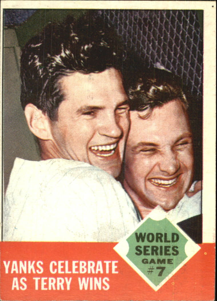 1963 Topps #148 World Series Game 7/Yanks Celebrate/Ralph Terry