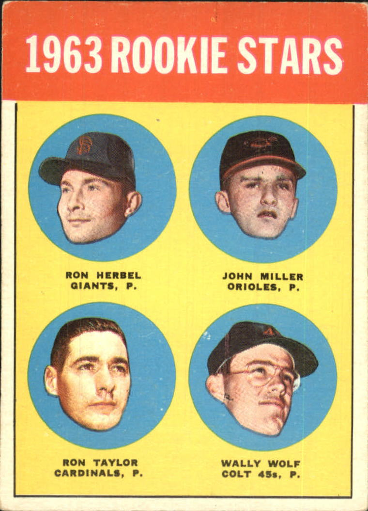 1963 Topps #208 Rookie Stars/Ron Herbel RC/John Miller RC/Wally Wolf RC/Ron Taylor