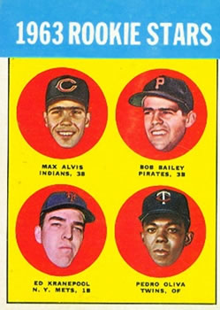 1963 Topps #228 Rookie Stars/Max Alvis RC/Bob Bailey RC/Tony Oliva RC/(Listed as Pedro)/Ed Kranepool RC