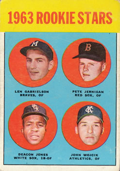 1963 Topps #253 Rookie Stars/Len Gabrielson RC/Pete Jernigan RC/John Wojcik RC/Deacon Jones RC