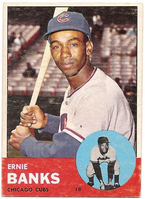 1963 Topps #380 Ernie Banks UER/(Back has career Major/and Minor, but he/never played in Minors)