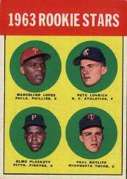 1963 Topps #549 Rookie Stars/Marcelino Lopez RC/Pete Lovrich RC/Paul Ratliff RC/Elmo Plaskett RC