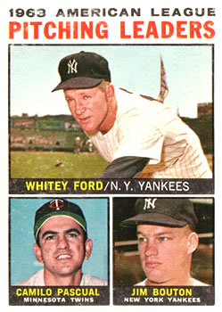 1964 Topps #4 AL Pitching Leaders/Whitey Ford/Camilo Pascual/Jim Bouton