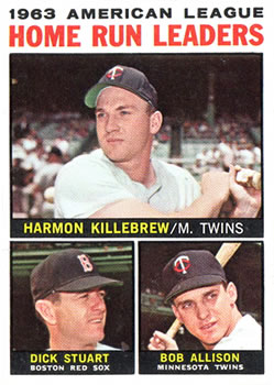 1964 Topps #10 AL Home Run Leaders/Harmon Killebrew/Dick Stuart/Bob Allison