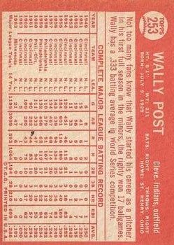 1964 Topps #253 Wally Post back image