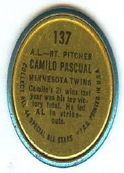 1964 Topps Coins #137 Camilo Pascual AS back image