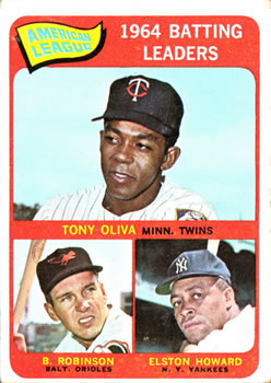 1965 Topps #1 AL Batting Leaders/Tony Oliva/Elston Howard/Brooks Robinson front image