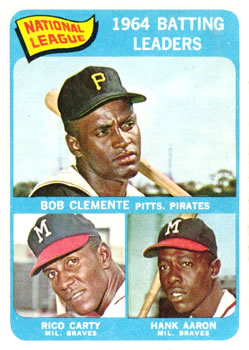 1965 Topps #2 NL Batting Leaders/Roberto Clemente/Hank Aaron/Rico Carty