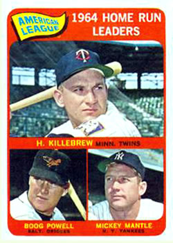 1965 Topps #3 AL Home Run Leaders/Harmon Killebrew/Mickey Mantle/Boog Powell