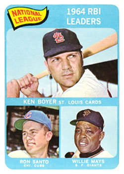 1965 Topps #6 NL RBI Leaders/Ken Boyer/Willie Mays/Ron Santo