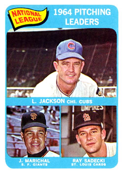 1965 Topps #10 NL Pitching Leaders/Larry Jackson/Ray Sadecki/Juan Marichal