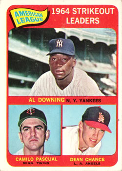 1965 Topps #11 AL Strikeout Leaders/Al Downing/Dean Chance/Camilo Pascual