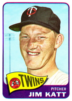 1965 Topps #62 Jim Kaat UER DP (Misspelled Katt)