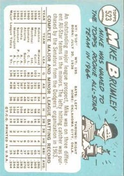 1965 Topps #523 Mike Brumley SP back image