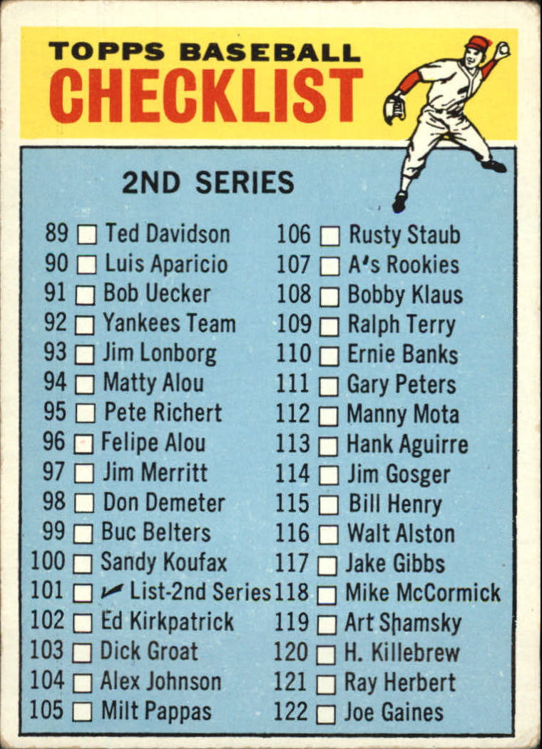 1966 Topps #101B Checklist 2 COR (115 is Bill Henry)