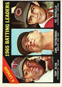 1966 Topps #216 AL Batting Leaders/Tony Oliva/Carl Yastrzemski/Vic Davalillo