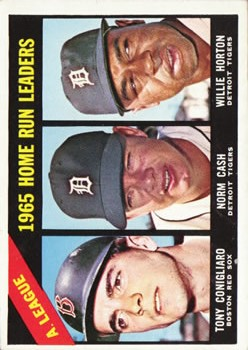 1966 Topps #218 AL Home Run Leaders/Tony Conigliaro/Norm Cash/Willie Horton