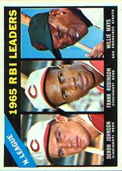 1966 Topps #219 NL RBI Leaders/Deron Johnson/Frank Robinson/Willie Mays