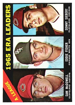 1966 Topps #222 AL ERA Leaders/Sam McDowell/Eddie Fisher/Sonny Siebert