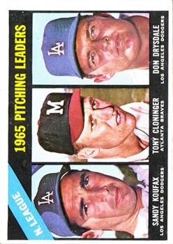 1966 Topps #223 NL Pitching Leaders/Sandy Koufax/Tony Cloninger/Don Drysdale front image