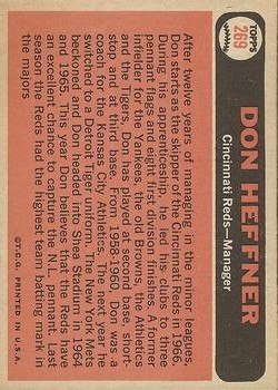 1966 Topps #269 Don Heffner MG back image