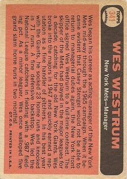 1966 Topps #341 Wes Westrum MG back image
