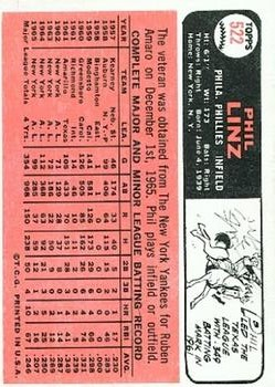 1966 Topps #522 Phil Linz back image
