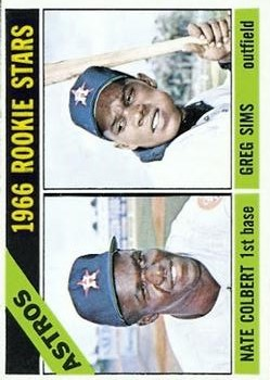 1966 Topps #596 Rookie Stars/Nate Colbert RC/Greg Sims RC SP