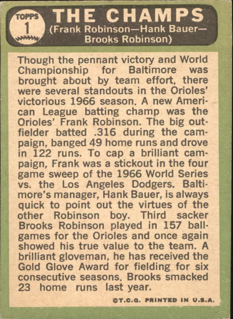 1967 Topps #1 The Champs/Frank Robinson/Hank Bauer MG/Brooks Robinson DP back image