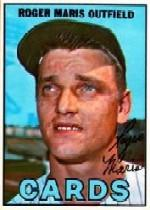 1967 Topps #45A Roger Maris/Yankees listed as team/Blank Back