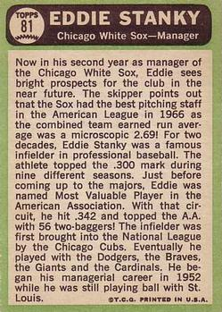 1967 Topps #81 Eddie Stanky MG back image