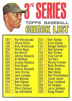 1967 Topps #191B Willie Mays CL3 214 is Dick Kelley