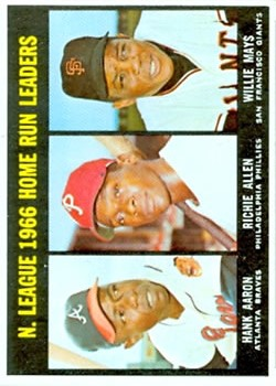 1967 Topps #244 NL Home Run Leaders/Hank Aaron/Richie Allen/Willie Mays
