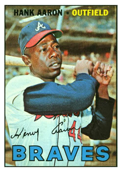 1967 Topps #250 Hank Aaron UER (Second 1961 in Stats should be 1962)