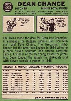 1967 Topps #380 Dean Chance DP back image