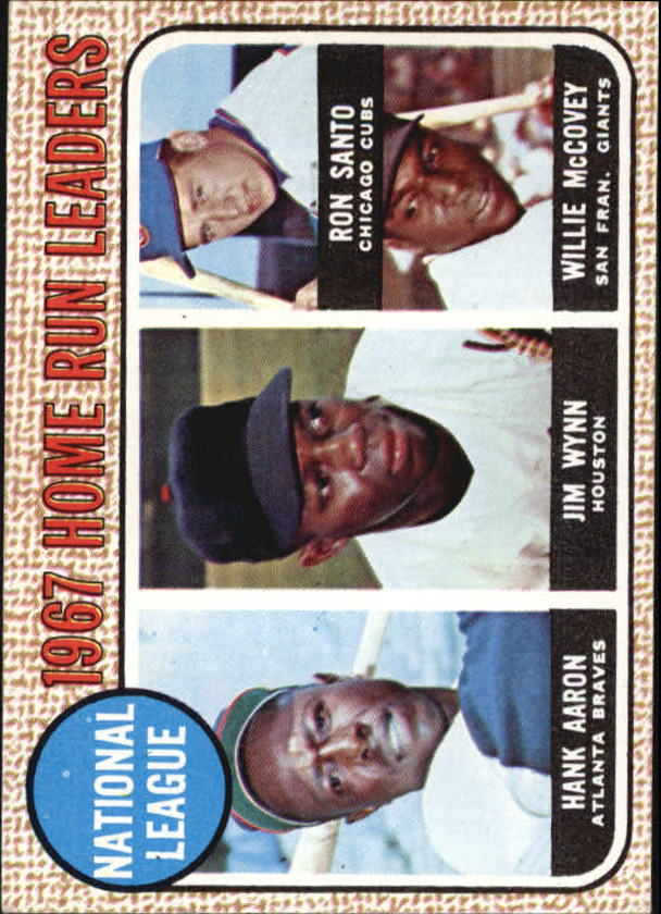 1968 Topps #5 NL Home Run Leaders/Hank Aaron/Jim Wynn/Ron Santo/Willie McCovey