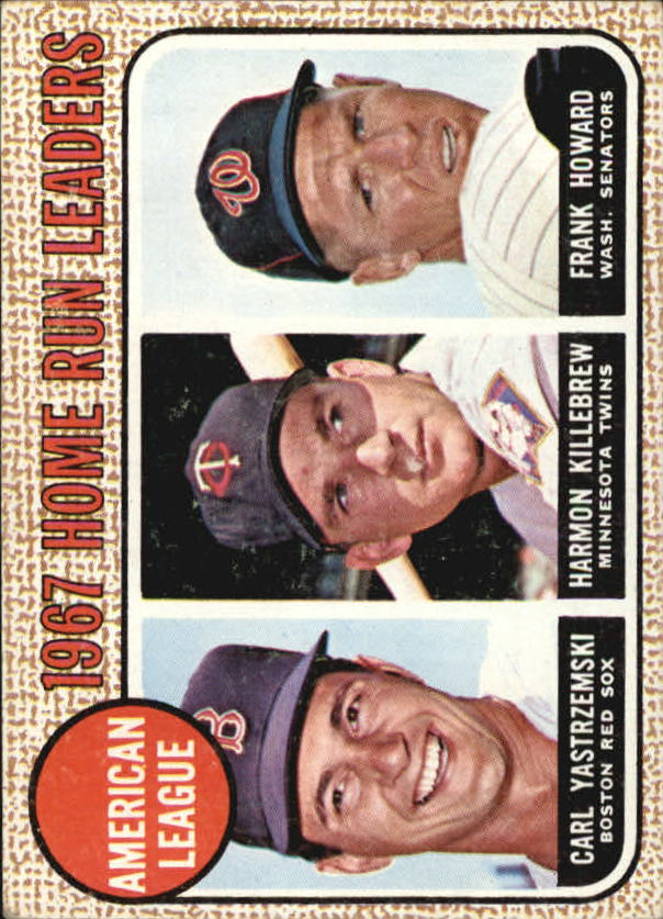 1968 Topps #6 AL Home Run Leaders/Carl Yastrzemski/Harmon Killebrew/Frank Howard