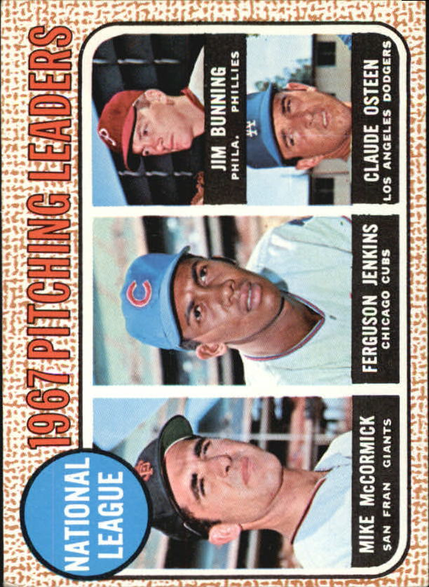 1968 Topps #9 NL Pitching Leaders/Mike McCormick/Ferguson Jenkins/Jim Bunning/Claude Osteen
