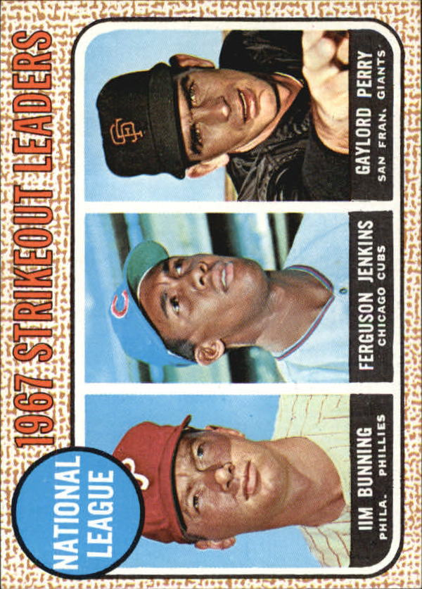 1968 Topps #11 NL Strikeout Leaders/Jim Bunning/Ferguson Jenkins/Gaylord Perry