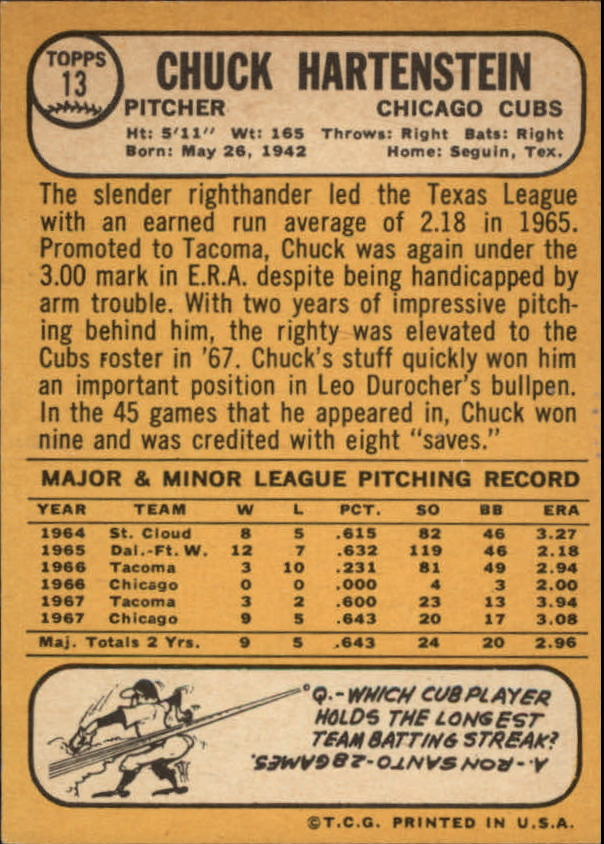 1968 Topps #13 Chuck Hartenstein RC back image