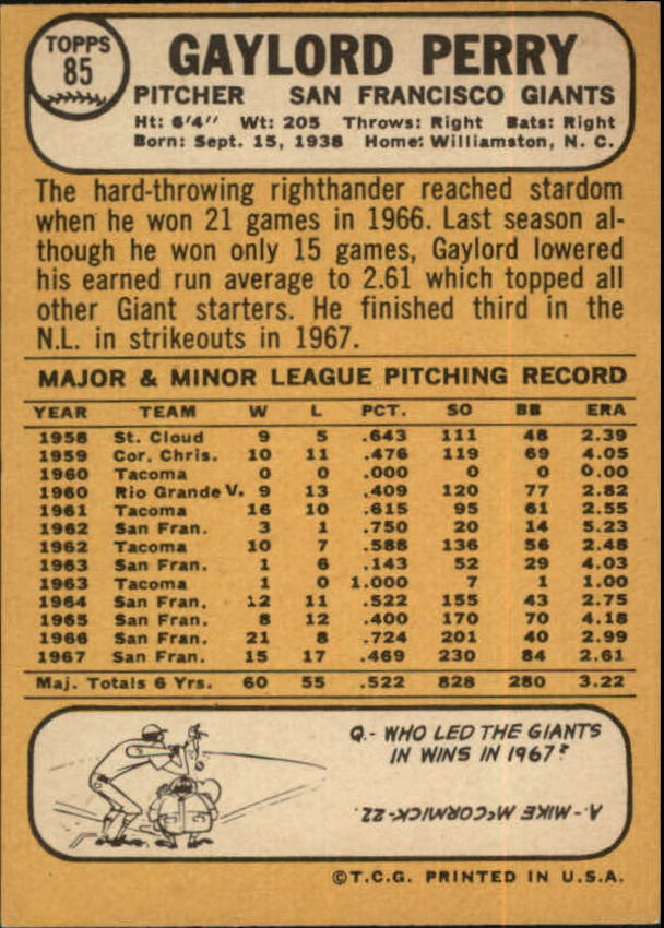 1968 Topps #85 Gaylord Perry back image