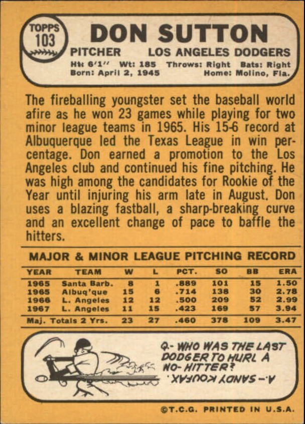 1968 Topps #103 Don Sutton back image