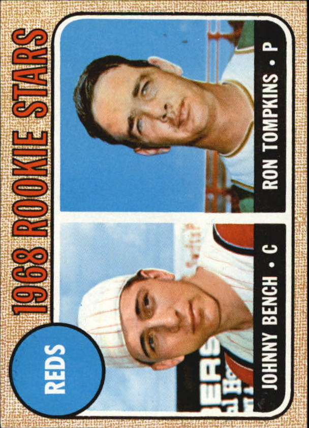 1968 Topps #247 Rookie Stars/Johnny Bench RC/Ron Tompkins UER (the is Misspelled in First Line)