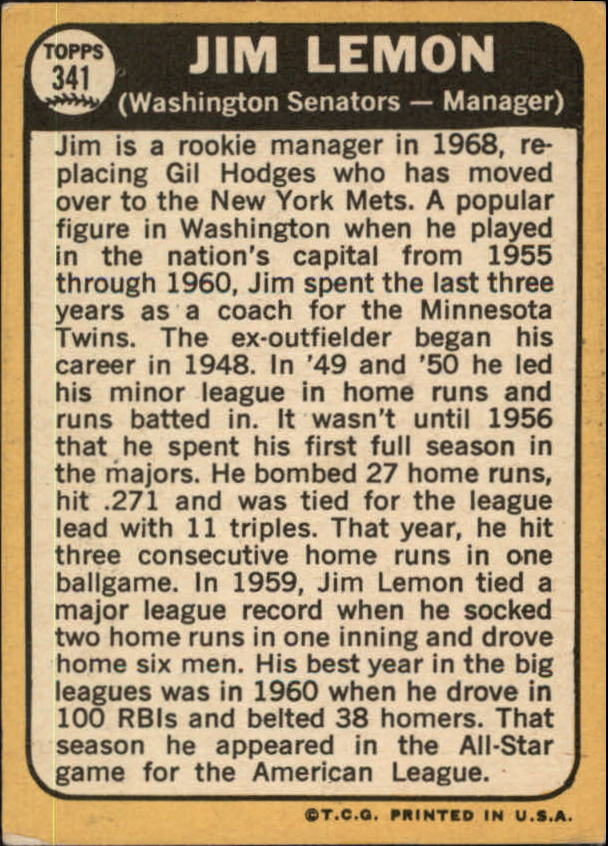 1968 Topps #341 Jim Lemon MG back image